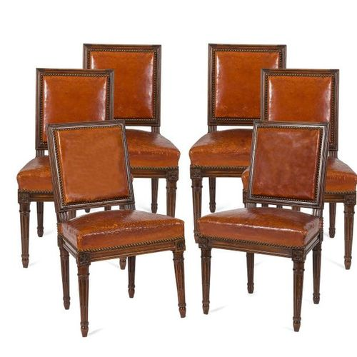 SIX CHAIRS IN Dyed Beech with rectangular backrest and tapered legs with rough g…