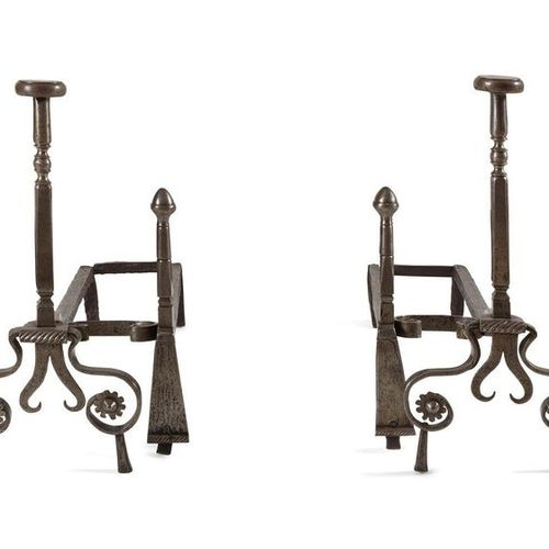 PAIR OF POLISHED RAILWAYS with windings and rosettes; (with their irons). 17th c…