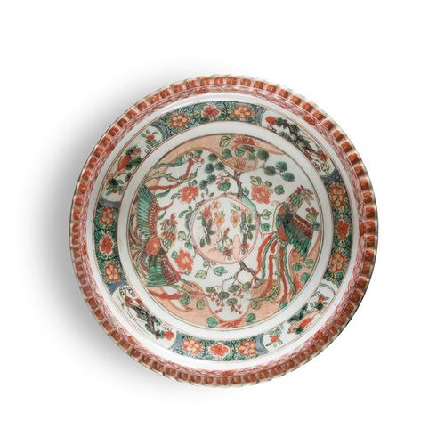 GREEN PORCELAIN PLATE FAMILY China, Kangxi period (1662 1722) With central decor…