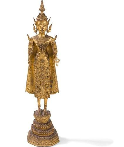 BUDDHA STATUE IN BRONZE LAQUE GOLD Thailand, Ratanakosin, Bangkok school , end o…