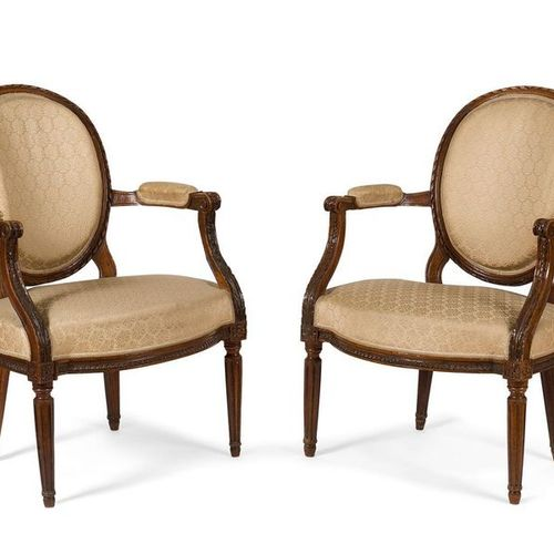 PAIR OF Dyed Beech and Sculpted Beech FALLS with a medallion backrest in a cabri…