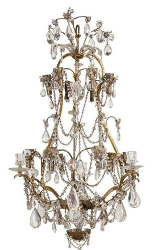 BRASS CAGE LIGHT AND WOODEN LIGHTS Fifteen arms of light in two rows. Louis XV s…