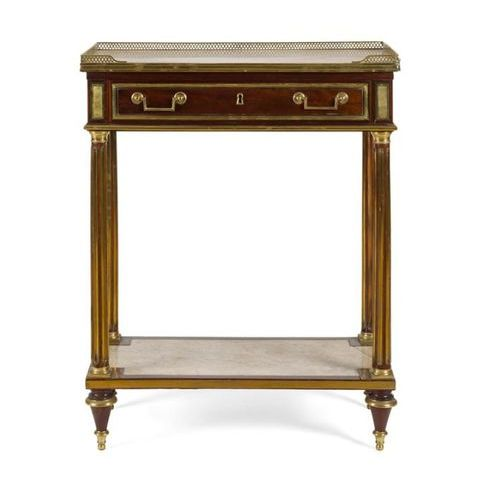 CONSOLE TABLE IN CASEWOOD, OPENING TO A GLASS ROLLER, resting on brass fluted up…