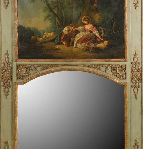WOODEN WOOD TRUMEAU PAINTED AND GILDED with foliage and shell decoration in the …