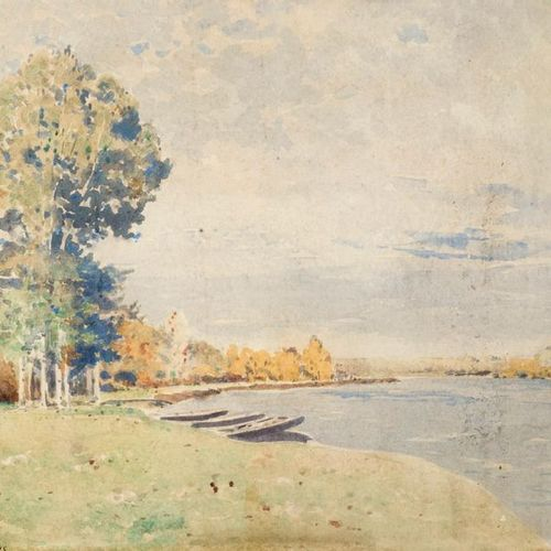 Louis Alexandre CABIÉ (1854 1939) Riverside landscape, 1895. Watercolour, signed…