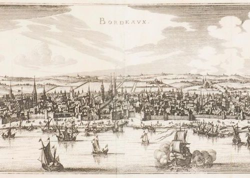 Gaspard MERIAN Panoramic view of Bordeaux between its ramparts. Etching and buri…