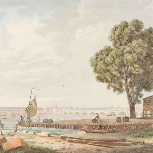 D'APRÈS J. BRASCASSAT (1804 1867) Bordeaux. View of the construction site. Gouac…