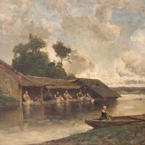 Eugène CICERI (1813 1890) Lavandières à Douville. Oil on canvas, signed lower ri…