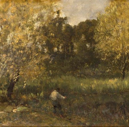 Eugène CICERI (1813 1890) Peasant by a pond. Oil on panel, signed lower left. 25…