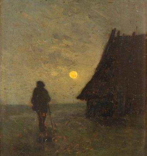 Félix Eugène CANTEGRIL (18461914) La rentrée à la bergerie, Landes. Oil on panel…