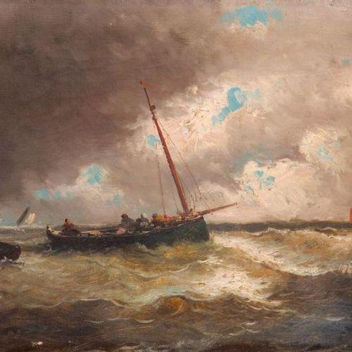 Émile GODCHAUX (1860 1938) Marine. Oil on canvas, signed lower left. 26.5 x 46 c…