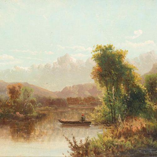 Émile GODCHAUX (1860 1938) Bords de rivière. Two oils on canvas forming a pendan…