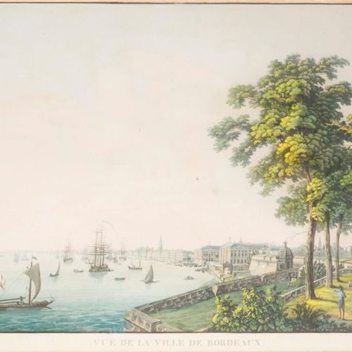 WEBER View of the city of Bordeaux. Enhanced aquatint signed and dated in plate …