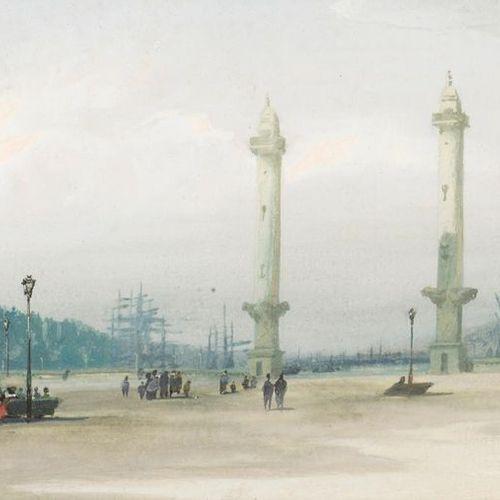Ernest HOSTIN (Born in Bordeaux) Place des Quinconces, 1880. Gouache signed lowe…
