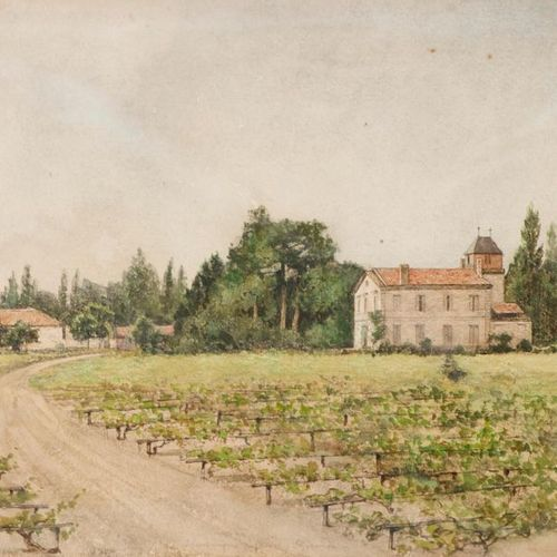 Louis DUTASTA (Born in 1851) Vignoble de la Houringue (Médoc) Gironde, 1878. Wat…