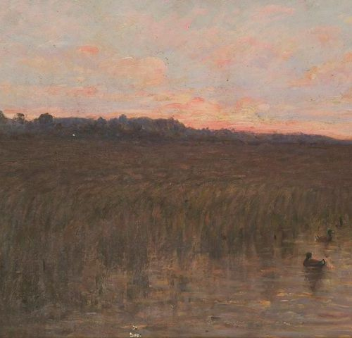 Julien CALVÉ (1851 1924) Sunset sun on the moor, 1896. Oil on board signed lower…