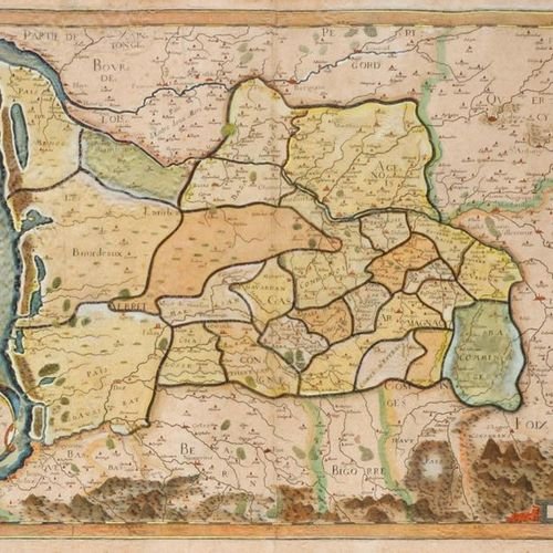 GUYENNE General map of Guyenne from the 16th century. Coloured map, later highli…