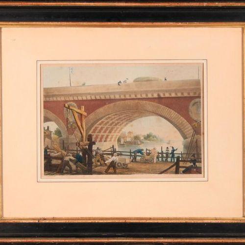 Louis GARNERAY (17831857) Construction of the Pont de Pierre in Bordeaux. Colour…