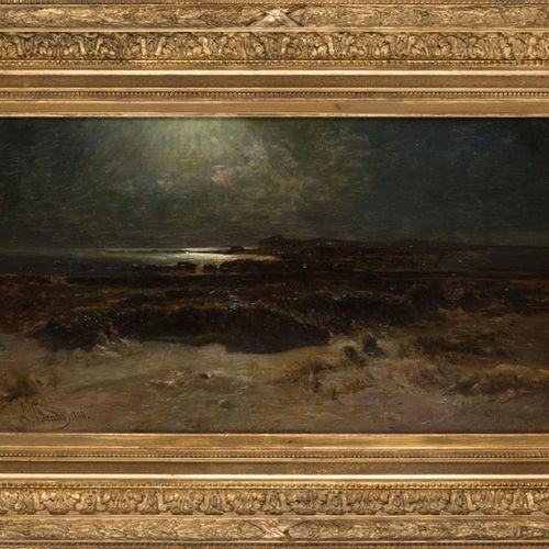 Amédée BAUDIT (18271890) Rocky coast, thunderstorm effect at dusk, 1890. Oil on …