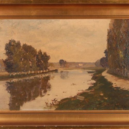 Louis Alexandre CABIÉ (1854 1939) Riverside, 1893. Oil on panel signed lower rig…