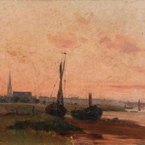 Léon BOPP DU PONT (1840 1924) Bordeaux, quai Sainte Croix. Oil on canvas signed …