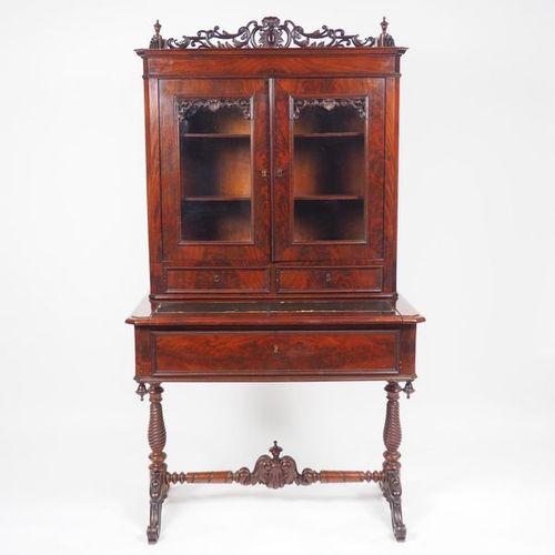 Bureau bibliothèque Napoléon III en acajou et placage d'acajou, ouvrant à trois …