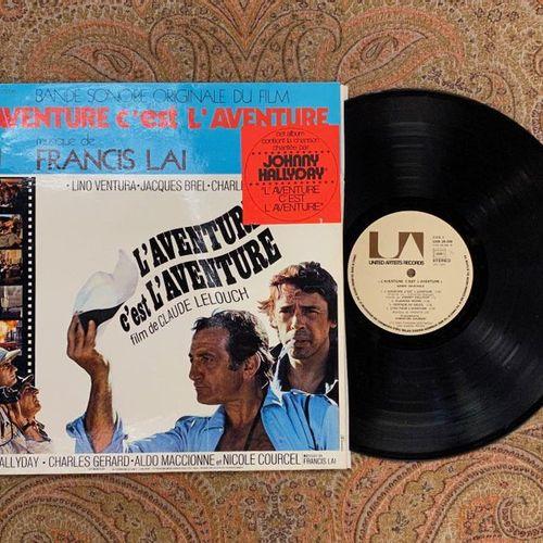 """Johnny HALLYDAY 1 disque 33 T Bande Originale du film """"L'aventure c'est l'aventu…"""