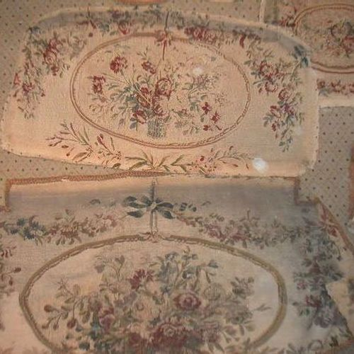 Living room upholstery (sofa and three armchairs) in tapestry, wool and silk, Au…