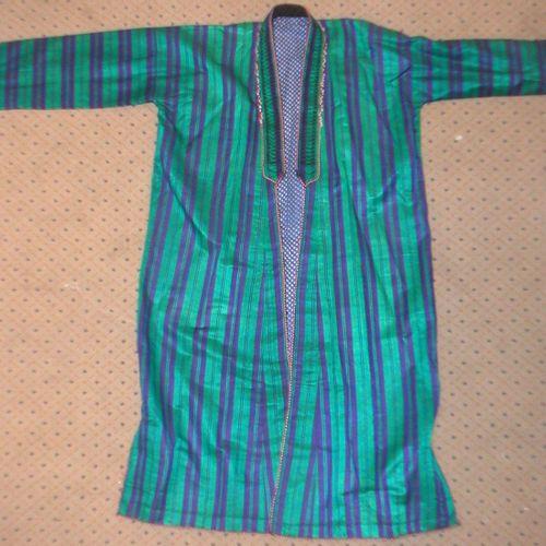 Coat, Turkmenistan, shaped emerald green with purple stripes, blue cotton lining…