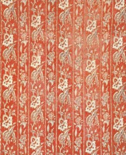 Two panels in board printed cotton quilt, probably Nantes, 18th century, red bac…