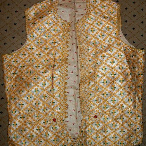 Waistcoat, Ottoman Empire, Balkan Europe, circa 1900, droguet, cream background,…