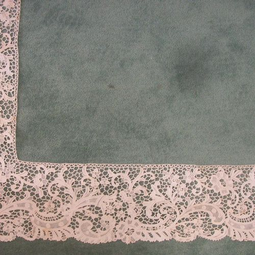 Framing of lace at the big Venice stitch, foliage and sheaves of flowers (rust s…