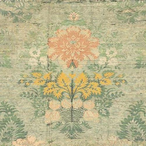 Tablecloth in a large brocaded towers, circa 1740, light green background, green…