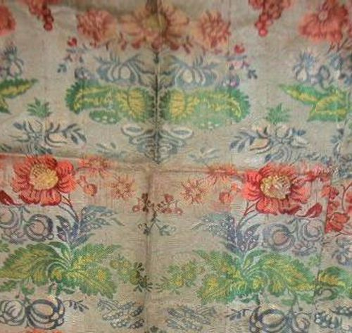Lampas launched, early eighteenth century, thick bottom of Tours cream border, p…