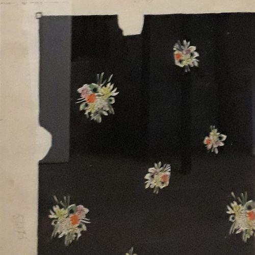 """Robert BONFILS (1886 1972) """"Bouquets sur fond noir"""" Gouache, signée 37 x 53 cm L…"""