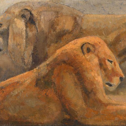 """Jean GRAVES (né en 1897) """"Deux Lions"""" Huile sur toile, signée en bas à droite, v…"""