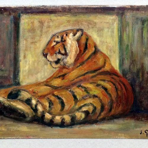 """Jean GRAVES (né en 1897) """"Tigre couché"""" Huile sur carton, signée en bas à droite…"""