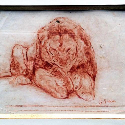"""Jean GRAVES (né en 1897) """"Lion dévorant"""" Sanguine sur papier, signée en bas à dr…"""