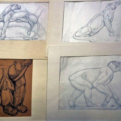 Georges MEDEE (1906 1986) Peintre et sculpteur Lot de quatre dessins signés Vers…