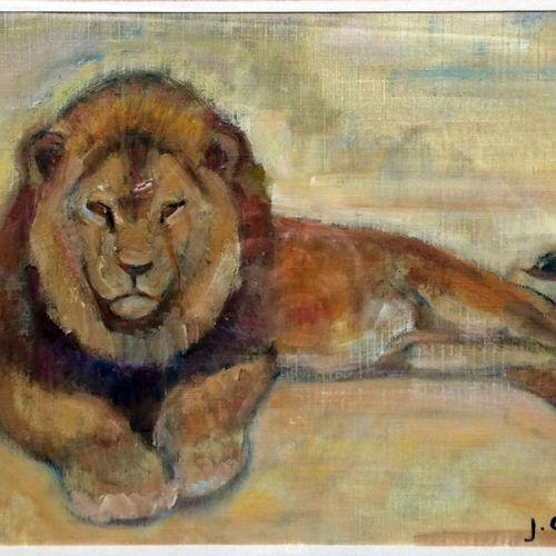"""Jean GRAVES (né en 1897) """"Lion en alerte"""" Huile sur toile encollée sur carton, s…"""