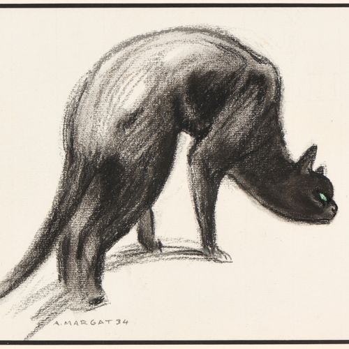 """André MARGAT (1903 1999) """"Chat faisant le dos rond"""" Fusain sur papier, signé au …"""
