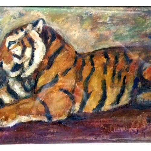 """Jean GRAVES (né en 1897) """"Tigre couché"""" Huile sur papier, signée en haut à gauch…"""