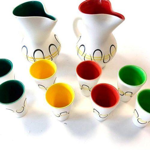 André BAUD (1903 1986)  Ensemble à orangeade en céramique, comprenant un pichets…