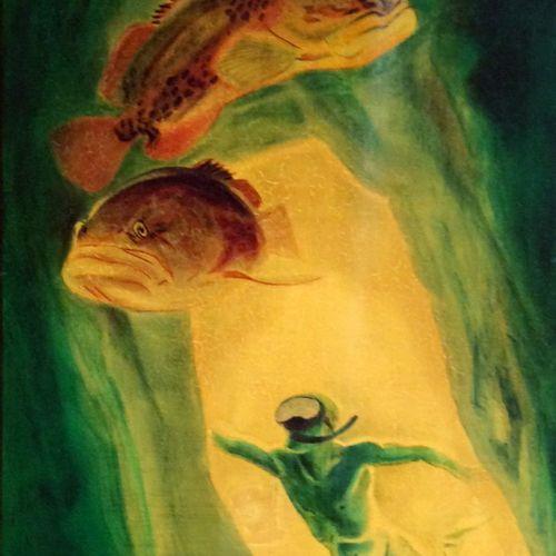 """André MARGAT (1903 1999) """"Exploration sous marine avec des mérous"""" Laque sur boi…"""