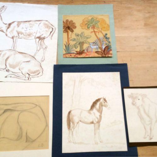 Louis DUMONCHEL (1891 1978) Peintre et sculpteur Lot de cinq dessins, signés ou …