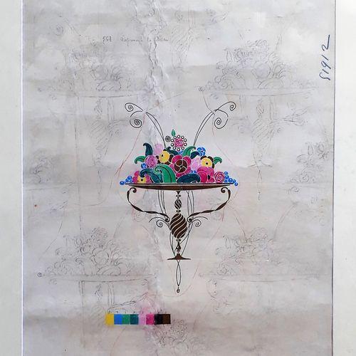 """Paul IRIBE (1883 1935) """"Coupelle de fleurs"""" Crayon et gouache 65 x 49 cm LOT VIS…"""