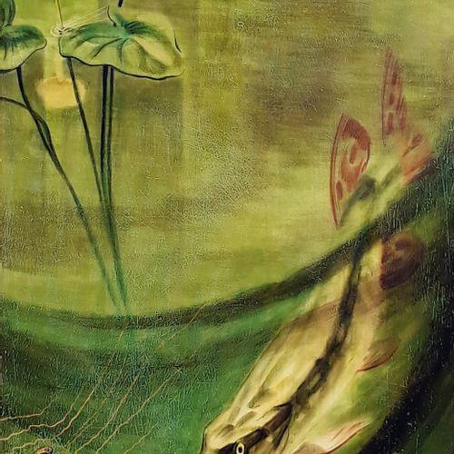 """André MARGAT (1903 1999)  """"Brochet chassant au fil de l'eau"""" Laque sur bois, sig…"""