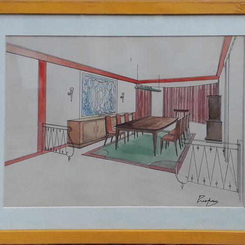 """PUSPAN (Xxe siècle)  """"Etude d'enfilade"""" et """"Projet de salle à manger""""  Crayon, e…"""