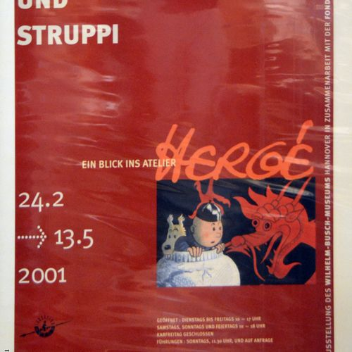 "Dérivés HERGÉ/TINTIN   Affiche ""Tintin Wilhelm Museum"", 89 x 59,5 cm   Deux Affi…"
