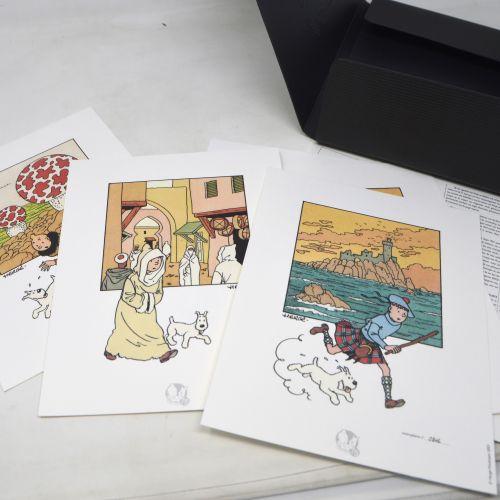 TINTIN HERGÉ/TINTIN  Portfolio Moulinsart Tintin 75 ans.  Neuf tirages lithograp…